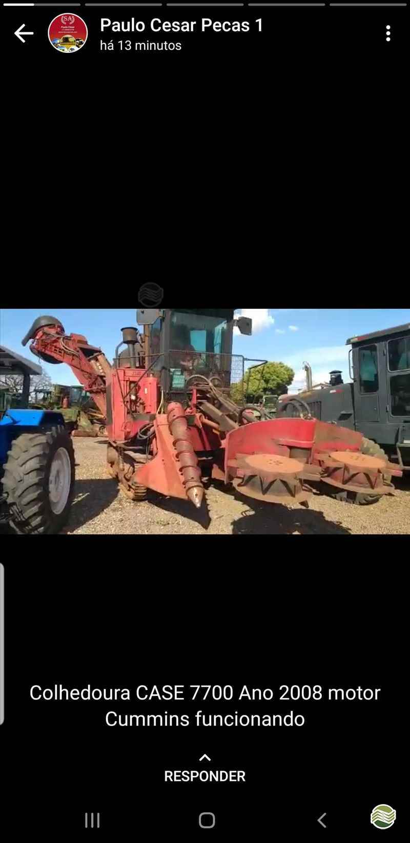 CASE CANA 7700  2008/2008 Só Agrícola Máquinas e Peças