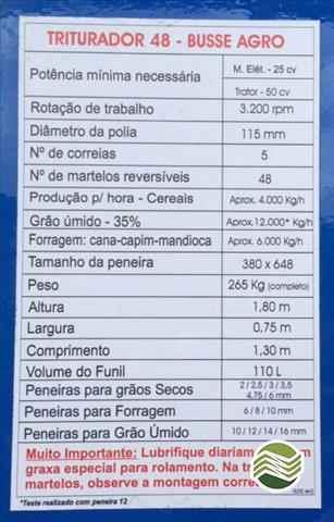 TRITURADOR FORRAGEIRO TRITURADOR PICADOR FORRAGEIRO  2020/2015 Gobo Implementos Agrícolas