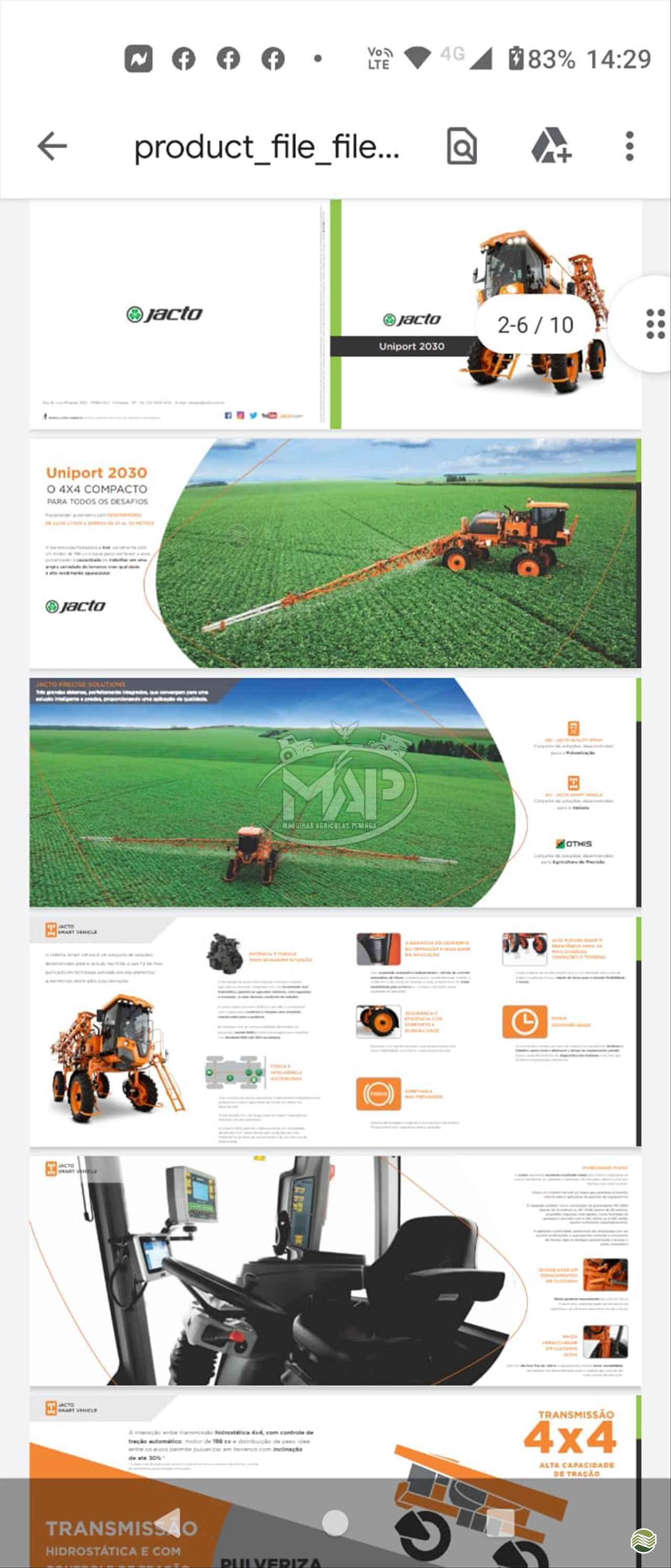PULVERIZADOR JACTO UNIPORT 2030 Tração 4x4 Máquinas Agrícolas Pitanga PITANGA PARANÁ PR
