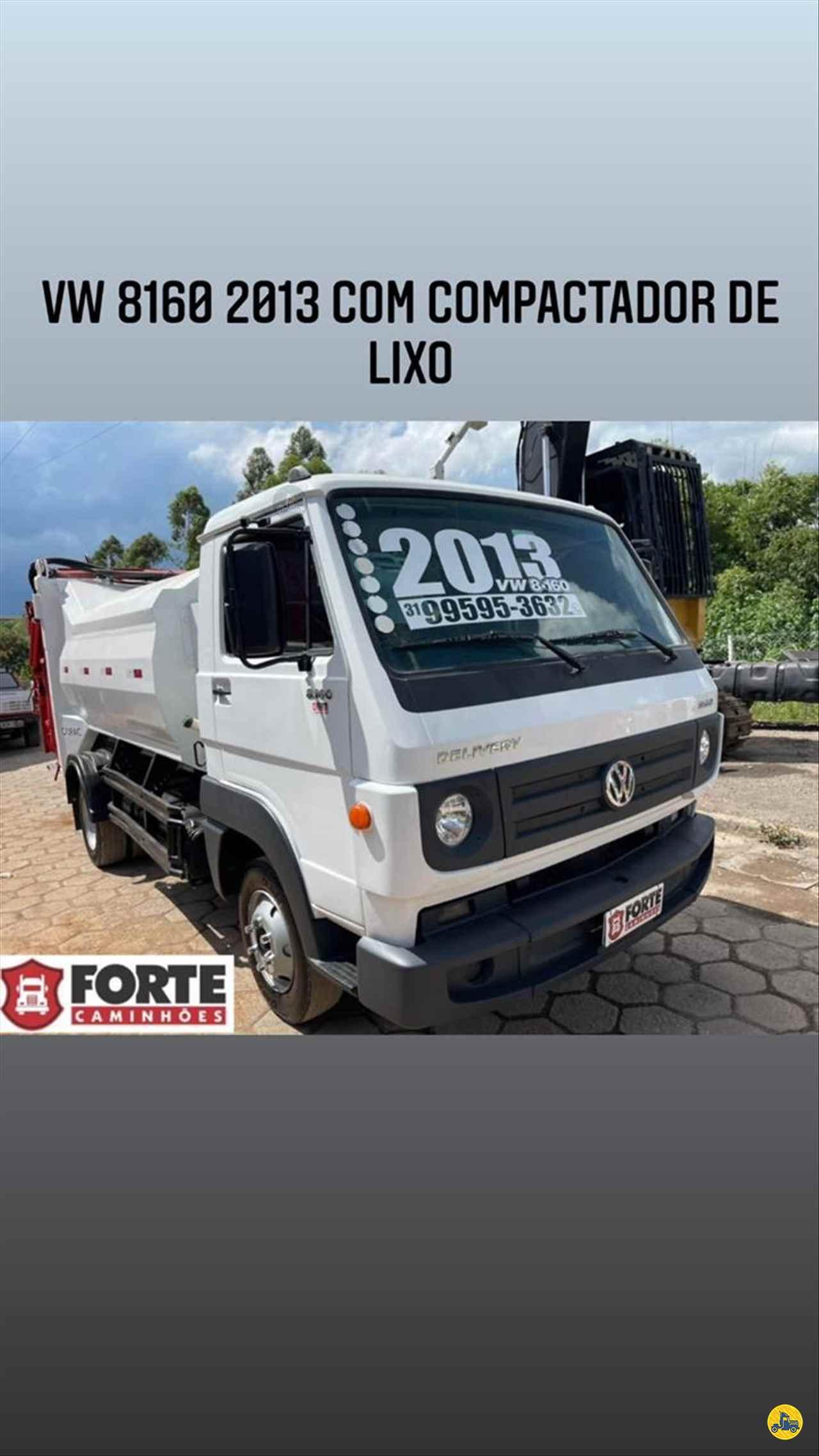 CAMINHAO VOLKSWAGEN VW 8160 Coletor de Lixo 3/4 4x2 Forte Caminhões MG JOAO MONLEVADE MINAS GERAIS MG