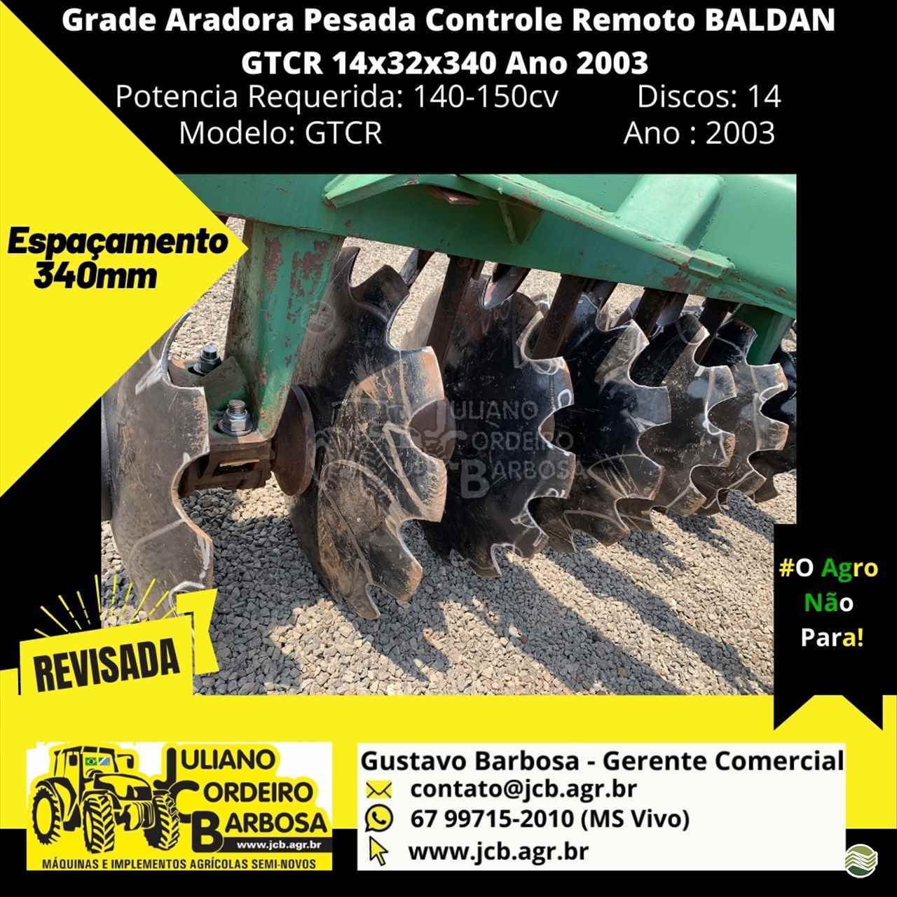 GRADE ARADORA ARADORA 14 DISCOS  2003 JCB Máquinas e Implementos Agrícolas