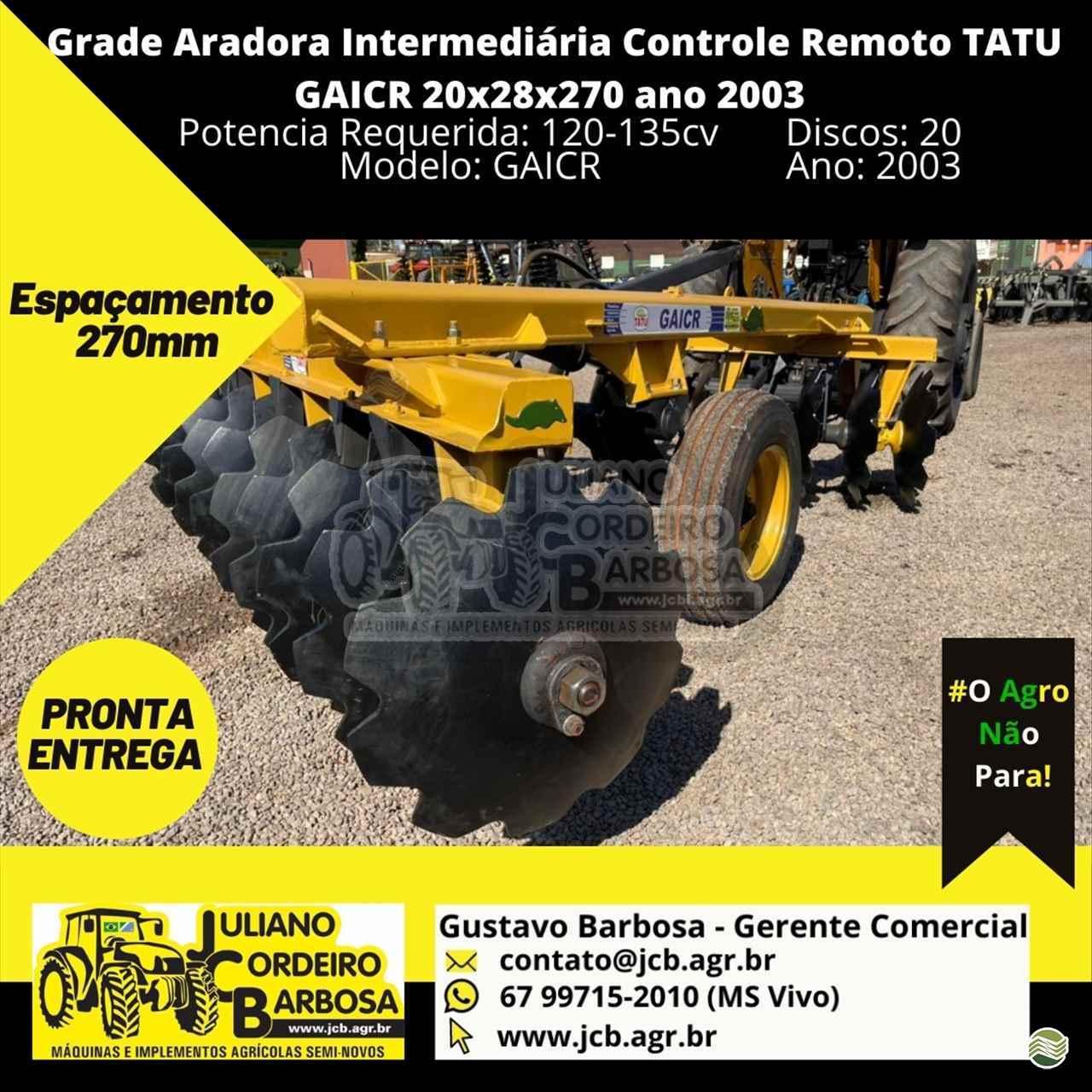 IMPLEMENTOS AGRICOLAS GRADE INTERMEDIÁRIA INTERMEDIÁRIA 20 DISCOS JCB Máquinas e Implementos Agrícolas MARACAJU MATO GROSSO DO SUL MS