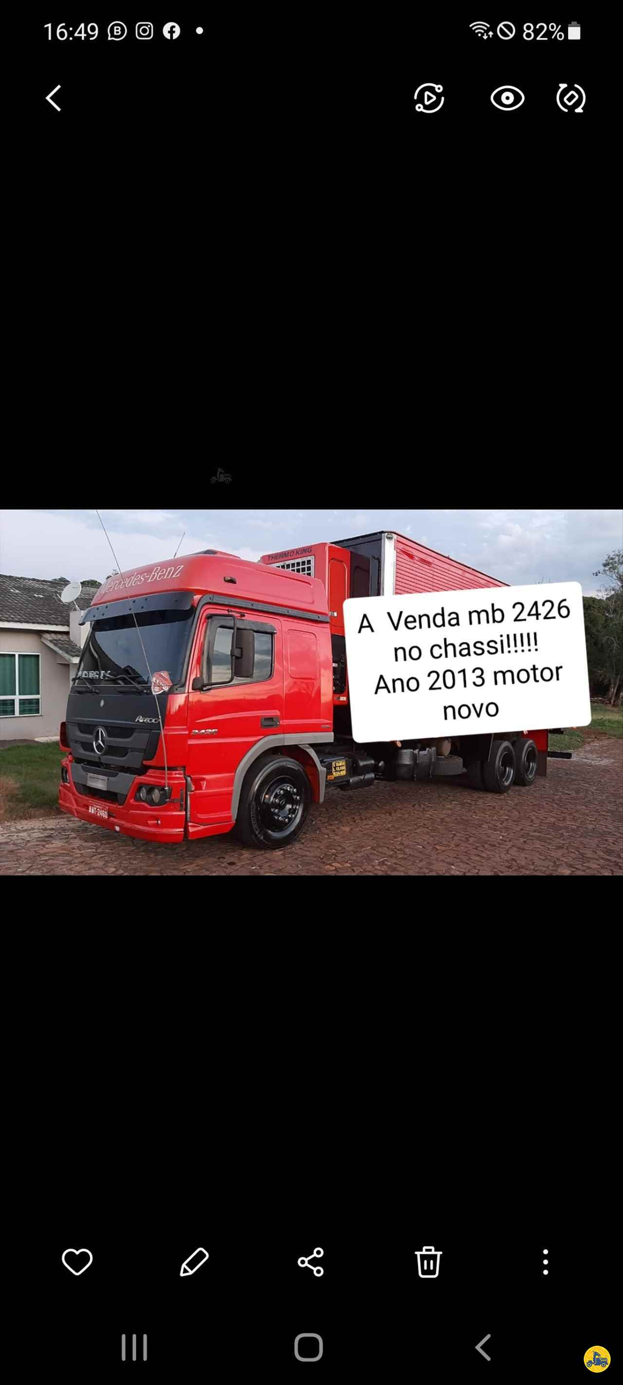 CAMINHAO MERCEDES-BENZ MB 2426 Baú Furgão Truck 6x2 CRM Caminhões Curitiba CAMPINA GRANDE DO SUL PARANÁ PR