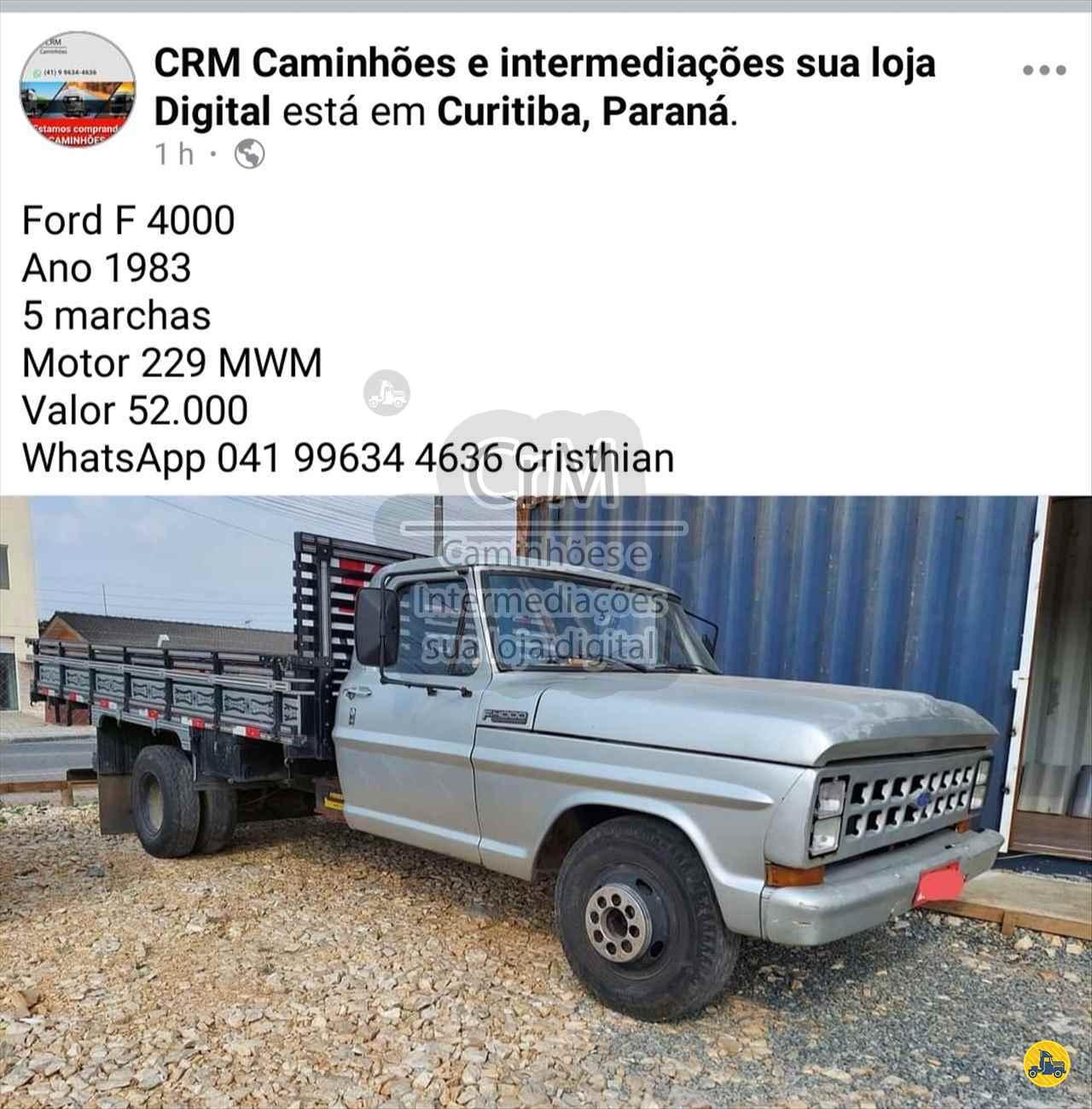 CAMINHAO FORD F4000 Carga Seca 3/4 4x2 CrM Caminhões e Intermediações - Sua Loja Digital CAMPINA GRANDE DO SUL PARANÁ PR